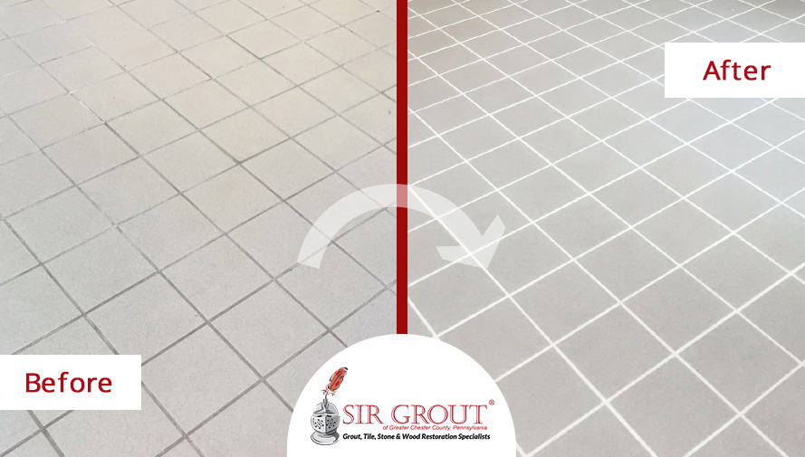 Before and After Close Up of a Grout Cleaning Job in Essington