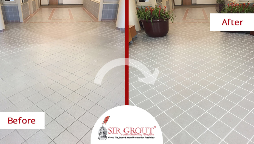Before and After Picture of a Grout Cleaning Job in Essington