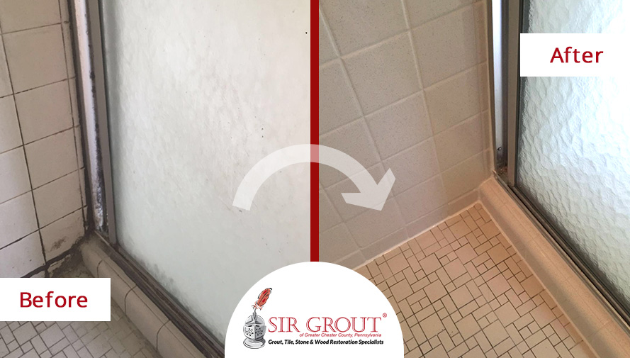Check out how years of soap scum and mold buildup were for Soap scum on shower floor