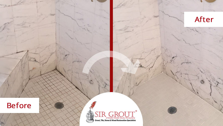 How to clean marble shower walls before and after picture for How to clean a marble shower