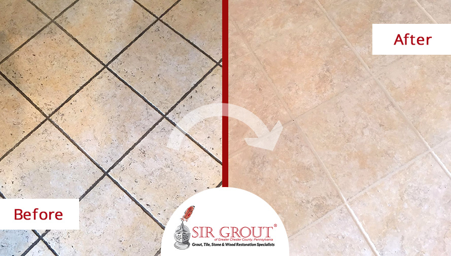 Before and After Picture of a Tile Floor in West Chester, PA Revived with a Grout Cleaning Job