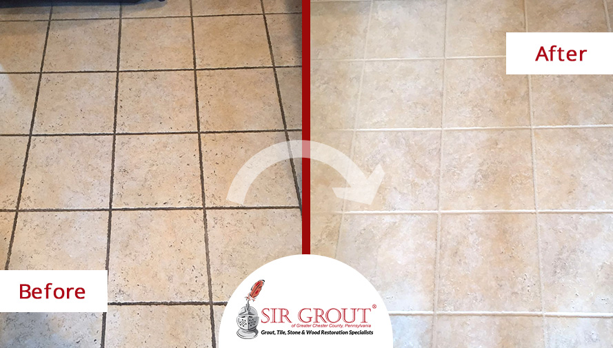 Before and After Picture of a Grout Cleaning on a Tile Floor in West Chester, Pennsylvania