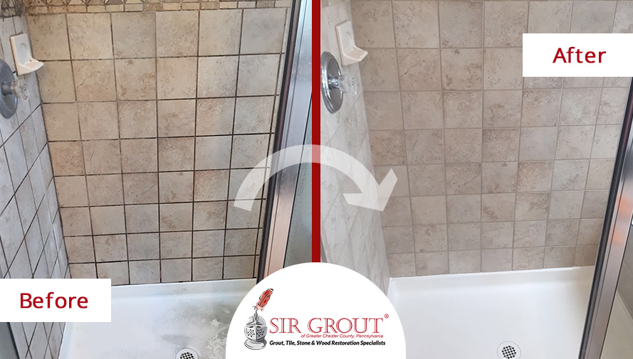 Amazing mold removal during a grout sealing service gave a new look to this bathroom in chester for How to clean bathroom grout mold
