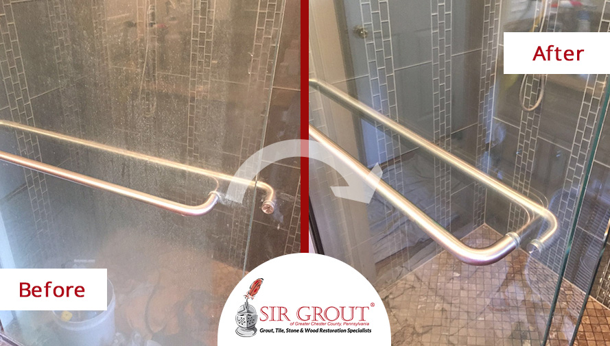 Before and After of a Marble Shower Grout Recoloring Service in Wayne, PA