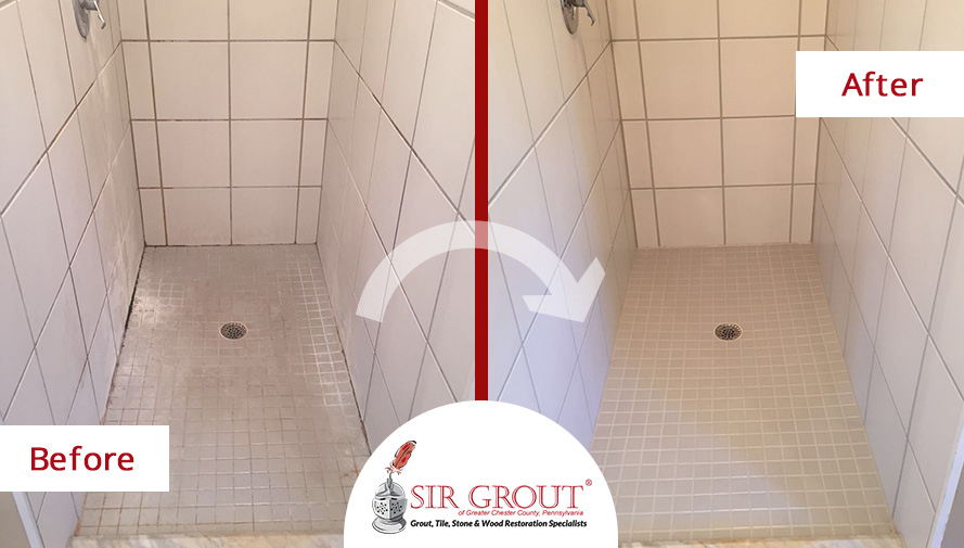 Before and After Picture of a Bathroom Grout Cleaning Service in Exton, PA