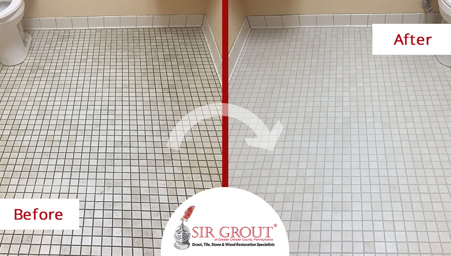 Before and After Picture of a Tile Cleaning Service in Exton, Pennsylvania