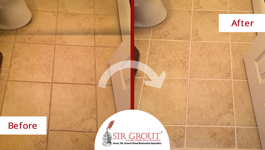 Before and After Picture of a Bathroom Tile and Grout Cleaners in King of Prussia, PA
