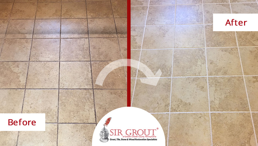 Before and After Picture of a Floor Tile and Grout Cleaners in King of Prussia, PA