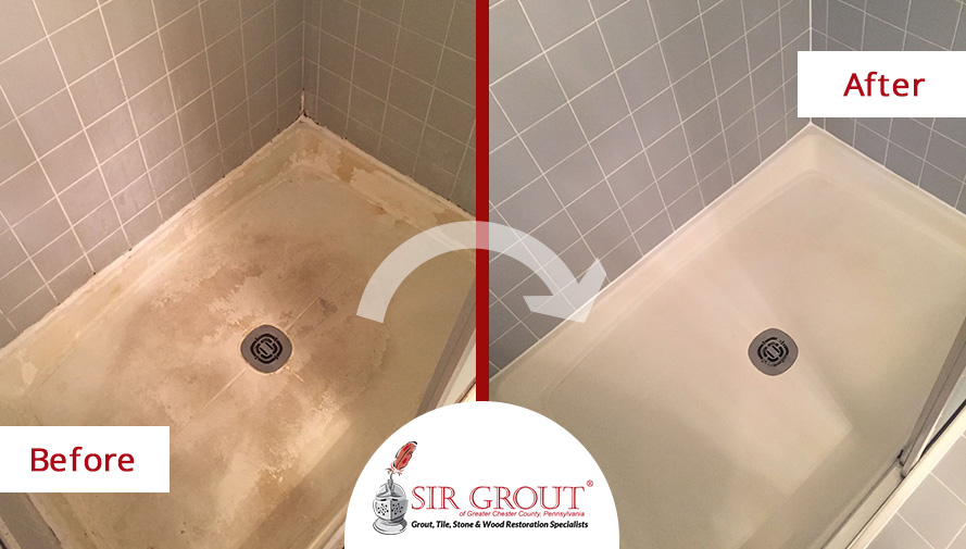 Two Steps For An Amazing Transformation Our Tile Cleaning And - Bathroom caulking service