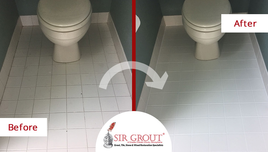 Before and After Picture of a Tile and Grout Cleaners in Phoenixville, PA