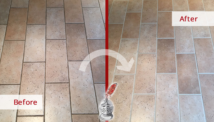 Before and After Picture of a Floor Grout Cleaning Service in Berwyn, PA