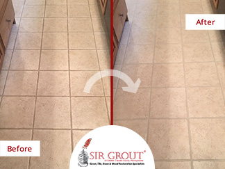Before and After Picture of a Tile and Grout Cleaners in Schwenksville, PA
