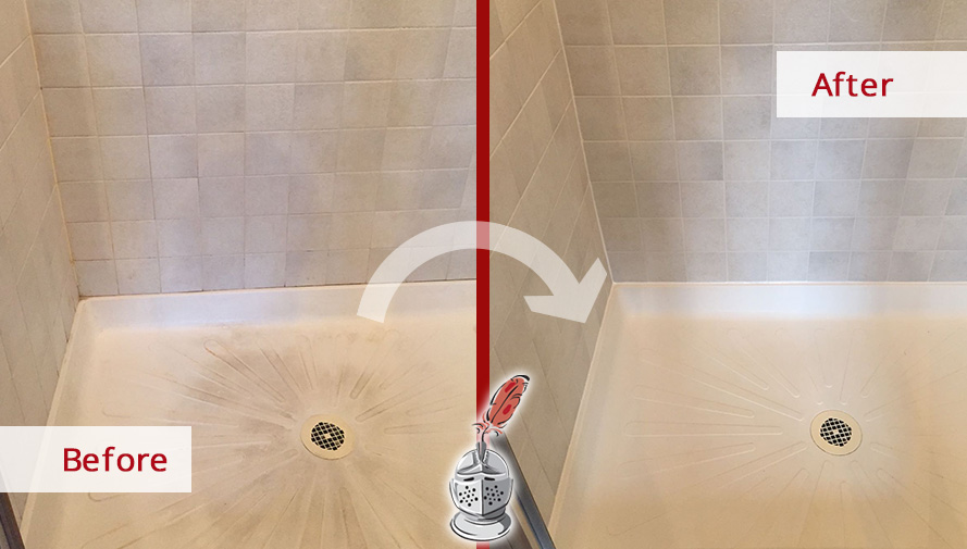 Before and After Picture of a Shower Tile Cleaning Service in West Chester, Pennsylvania