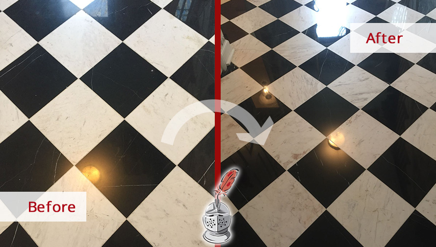 Before and After Picture of a Floor Honing Service in Conshohocken, PA