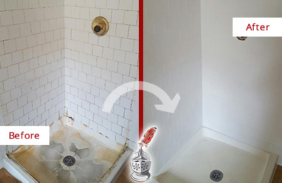 Before and After Picture of a Chatham Shower Tile and Grout Cleaned to Remove Soap Scum