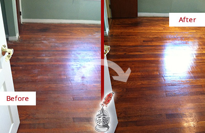 Before and After Picture of a Cheyney Wood Sandless Refinishing Service on a Dull Floor to Remove Stains