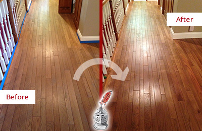 Before and After Picture of a Cheyney Wood Sandless Refinishing Service on a Worn Out Floor