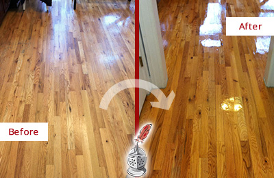 Before and After Picture of a Cheyney Wood Sandless Refinishing Service on a Worn Out Hallway