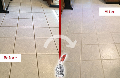 Before and After Picture of a Darby Kitchen Ceramic Floor Sealed to Protect From Dirt and Spills