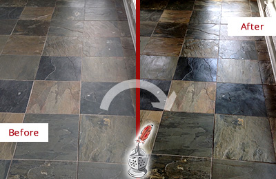 Before and After Picture of a Dull Darby Slate Floor Sealed to Bring Back Its Colors