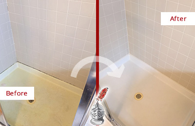 Before and After Picture of a Boyertown Shower Sealed to Remove and Protect Against Mold