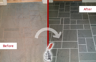 Before and After Picture of a Coatesville Slate Floor Cleaned to Remove Deep-Seated Dirt