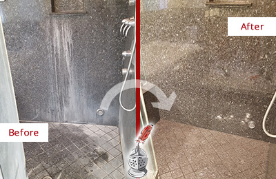 Before and After Picture of a East Greenville Granite Shower Cleaned to Remove Mineral Deposits