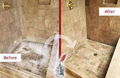 Before and After Picture of a Coatesville Travertine Shower Cleaned to Eliminate Water Spots