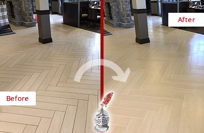 Before and After Picture of a Modena Hard Surface Restoration Service on an Office Lobby Tile Floor to Remove Embedded Dirt