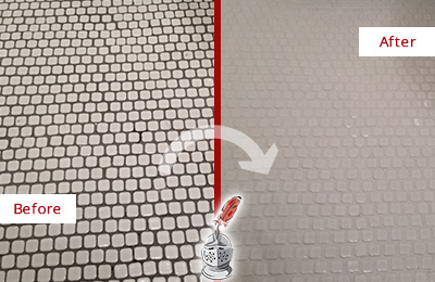 Before and After Picture of a Modena Hard Surface Restoration Service on a Bathroom Tile Floor Recolored to Fix Grout Color