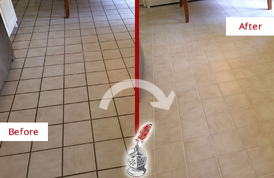 Before and After Picture of a Berwyn Kitchen Tile Floor with Recolored Grout