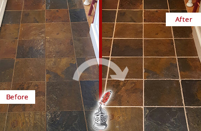 Before and After Picture of a Bala Cynwyd Slate Floor Recolored Grout