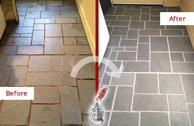 Before and After Picture of Damaged Cheyney Slate Floor with Sealed Grout