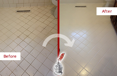 Before and After Picture of a Broomall White Bathroom Floor Grout Sealed for Extra Protection