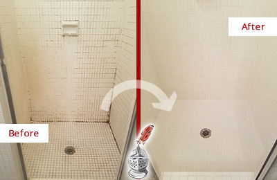 Before and After Picture of a Cheyney Bathroom Grout Sealed to Remove Mold