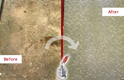 Before and After Picture of a Bridgeport Mosaic Shower Cleaned to Eliminate Embedded Dirt