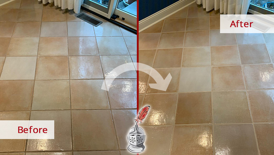 Kitchen Floor Before and After a Grout Cleaning Service in Broomall, PA