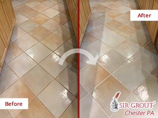 Before and After Picture of a Grout Sealing Service in Broomall, PA