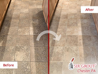 Before and After a Tile Sealing in Downingtown, PA