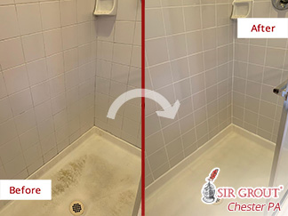 Before and After a Grout Cleaning in Chester Springs, PA