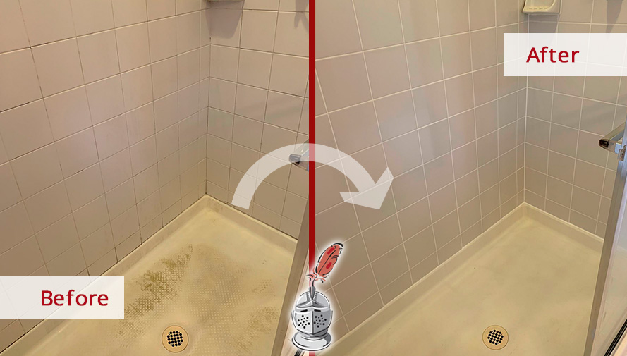 Shower Before and After a Grout Cleaning in Chester Springs, PA