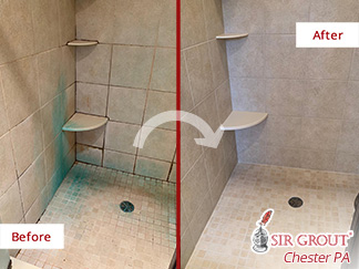 Before and After Picture of a Grout Cleaning in Glenmoore, PA