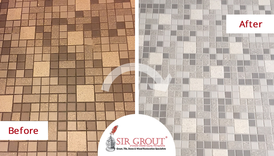 Grout Recoloring Saves Time and Money for Exton Parish School and Church
