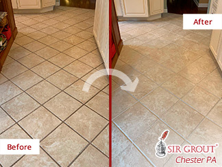 Before and After Picture of a Tile Cleaning in Downingtown, PA