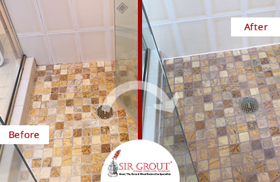 A Thorough Grout Cleaning Service Revitalized This Shower's Floor in Glen Mills, PA