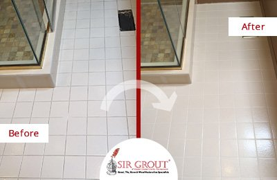 A Thorough Grout Cleaning Service Revitalized This Shower Surrounding's Floor in Glen Mills, PA
