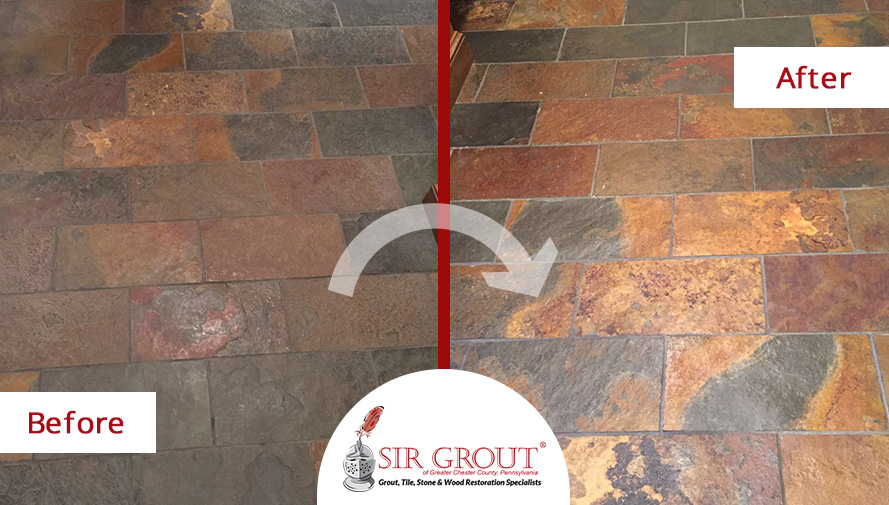 Stone Sealing Service in Glen Mills, PA Restored This Dull Slate Floor to a Satin Finish