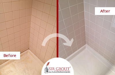 Before and After Picture of a Tile Cleaning Service in West Chester, PA - Shower Corner