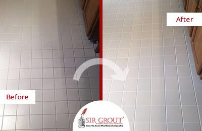 Before and After Picture of a Tile Cleaning Service in West Chester, PA - Bathroom Floor
