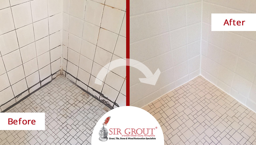 Before and After Picture of a Shower Tile Cleaning Job in Phoenixville, Pennsylvania